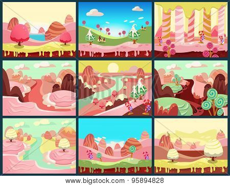 Vector illustration of fantasy sweet food land