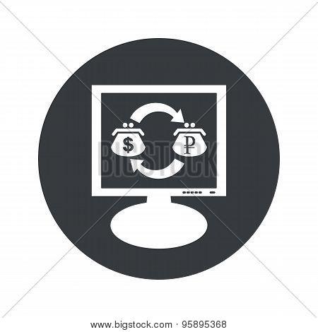 Round dollar ruble monitor icon