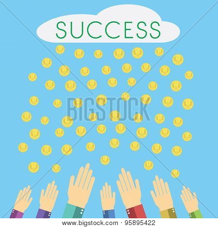 Flat Design Modern Vector Illustration Of Cloud With Sign Success Raining Money, Human Hands Catchin