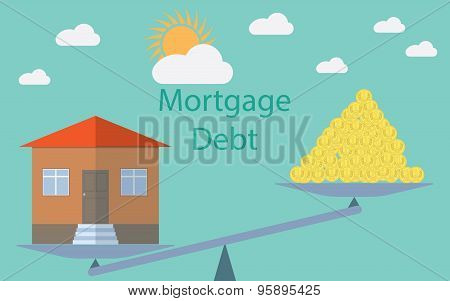 Flat Design Modern Vector Illustration Concept For Investment In Real Estate, House Debt