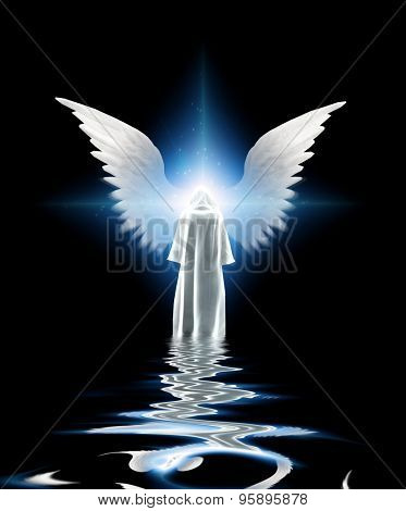 White robed figure and wings
