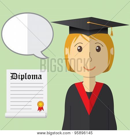Flat Design Modern Vector Illustration Of Student In Graduation Gown With Diploma And Speach Buble O