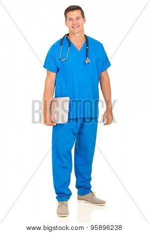 handsome healthcare worker holding laptop computer