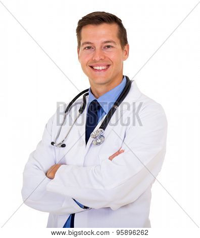 cheerful young male doctor with arms folded