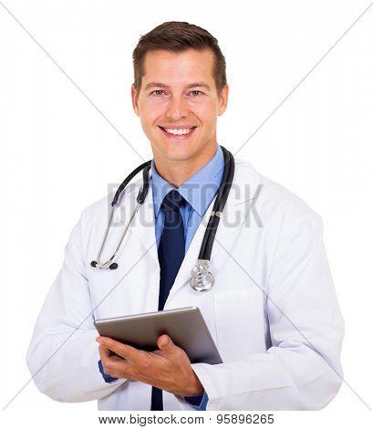 handsome medical worker holding tablet computer on white background