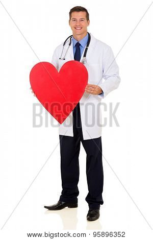 healthcare worker holding heart symbol isolated on white background
