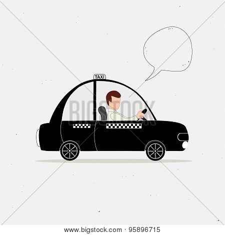Black Taxi Car And Taxi Driver And Speech Bubble