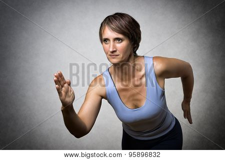 Middle Aged Running Woman