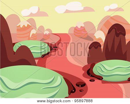Vector illustration of fantasy sweet food land