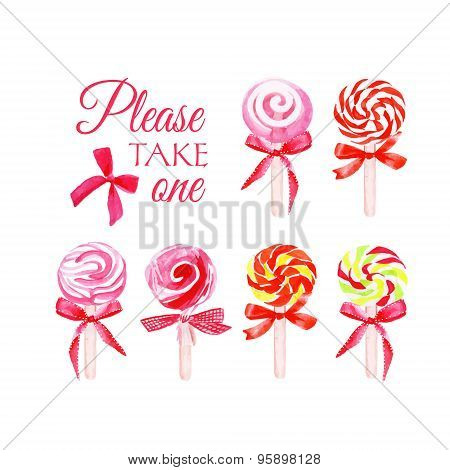 Take One Candy Watercolor Vector Elements
