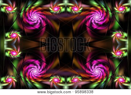 Illustration Of A Fractal Bright With Flowers Of Satin