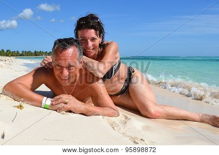 Happy Couple In Love On The Carribean Sea