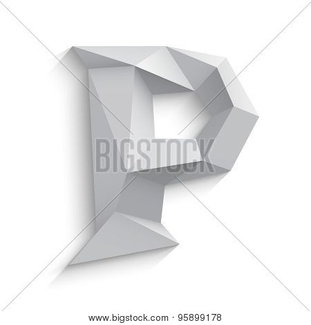Vector illustration of 3d letter P on white background.