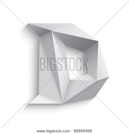 Vector illustration of 3d letter D on white background.