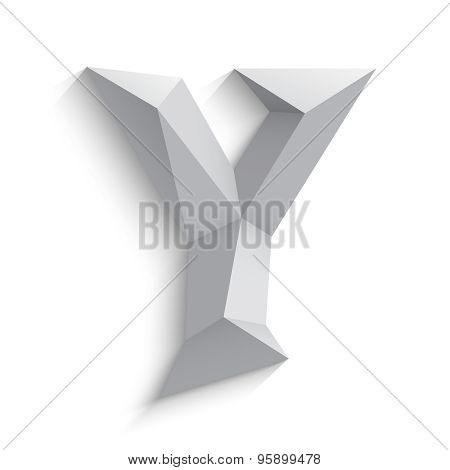 Vector illustration of 3d letter Y on white background.