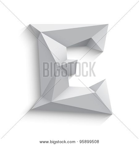 Vector illustration of 3d letter E on white background.