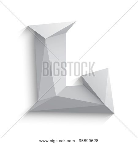 Vector illustration of 3d letter L on white background.