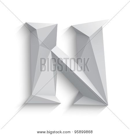 Vector illustration of 3d letter N on white background.