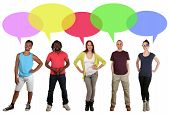 pic of multicultural  - Smiling multicultural multi ethnic group of young people talking with speech bubble and copyspace - JPG