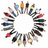 image of multicultural  - Smiling happy multicultural multi ethnic group of young people in circle isolated on a white background - JPG