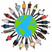 stock photo of multicultural  - Smiling happy multicultural multi ethnic group of young people on world earth - JPG