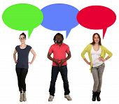 foto of multicultural  - Smiling multicultural multi ethnic young people talking with speech bubble and copyspace - JPG