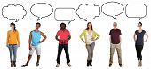 image of multicultural  - Smiling multicultural multi ethnic group of young people saying opinion with speech bubble and copyspace - JPG
