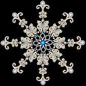 pic of precious stone  - illustration shiny snowflake made of precious stones on black background - JPG