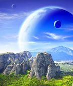 picture of fantastic  - Fantastic landscape with planet - JPG