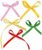 stock photo of ribbon bow  - silk satin bow on white background 2 - JPG