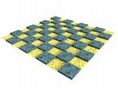 stock photo of chessboard  - isolateed textured wooden chessboard in yellow and blue - JPG