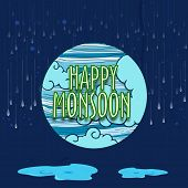 stock photo of raindrops  - Creative sticky design with stylish text Happy Monsoon on clouds and raindrops decorated blue background - JPG