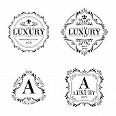 stock photo of vintage jewelry  - Luxury logo template glamour calligraphic monogram ornament labels set - JPG