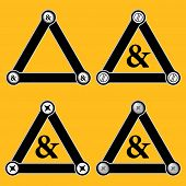 image of ampersand  - Set of four flat simple triangles with screws and ampersand - JPG