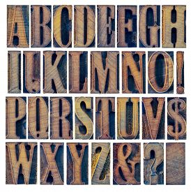 stock photo of ampersand  - alphabet in modern letterpress wood type printing blocks - JPG