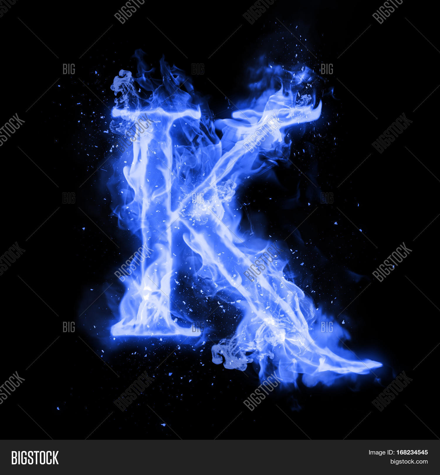 fire letter k burning blue flame. image & photo | bigstock