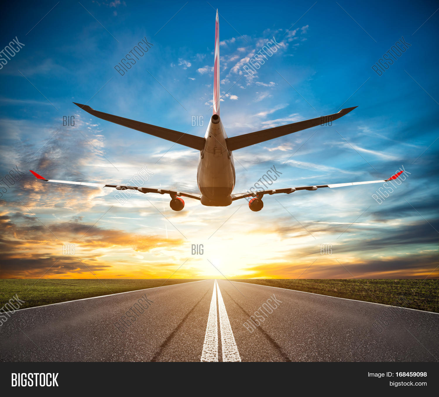 Passenger Plane Fly Over Take-off Image & Photo | Bigstock
