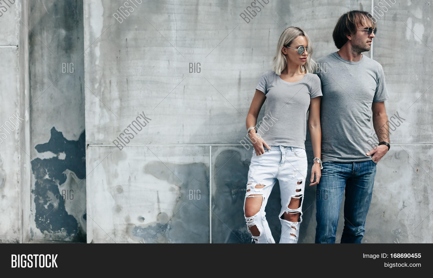 two hipster models man and woman wearing blank gray t