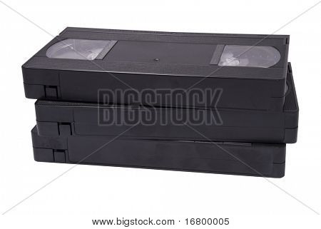 VHS cassettes on white background, clipping path
