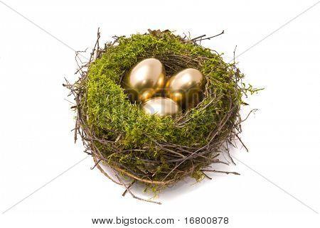 Goldene Eier in ein nest