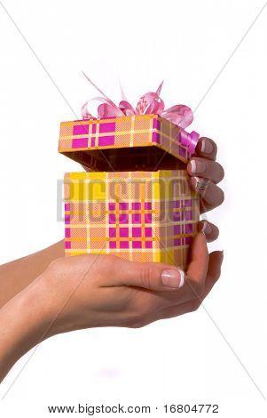 Gift in woman hand, studio shot