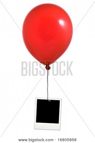 Red balloon and photo frame on white background