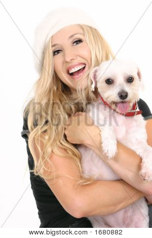 Laughing Girl With Puppy Dog