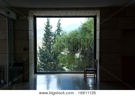 Landscape behind the window in dark room