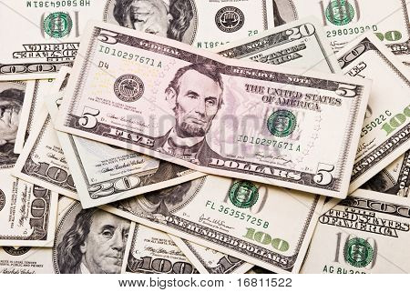 Dollar banknotes background