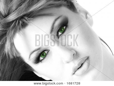 Beautiful Woman In Monochrome With Green Eyes 3