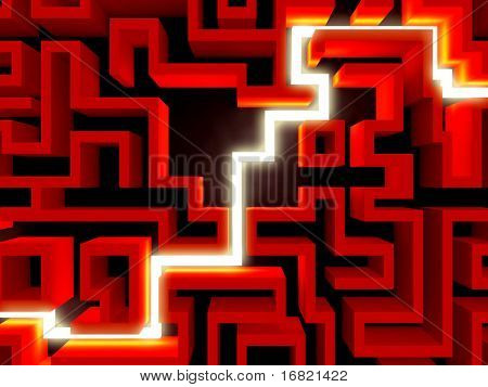 light path in 3d labyrinth, the way of success