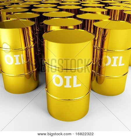 black gold, 3d image of golden oil barrel