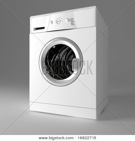 3d image of classic washing machine