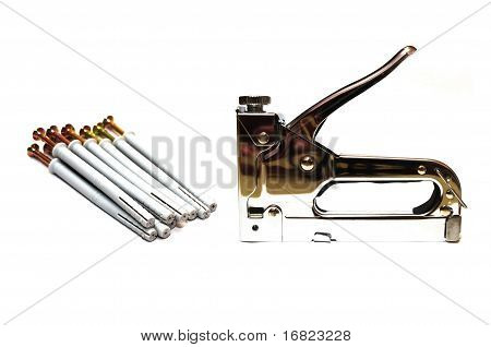 Furniture stapler and screws